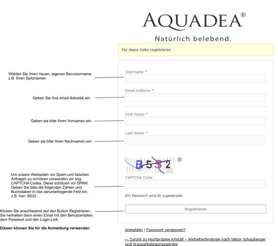 aquadea-registrierung