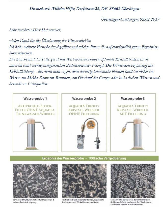 Aquadea Trinity Kristall-Wirbler MIT Aktivkohleblock-Filter Okato